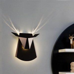lampe cerf mur